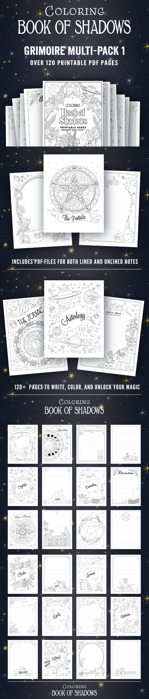graphic relating to Printable Book of Shadows called Printable Internet pages for your E book of Shadows - Coloring E-book of