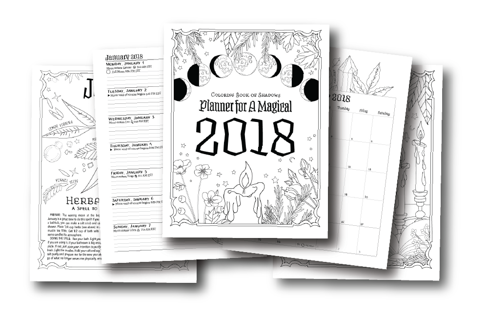 coloring book planner planner for a magical 2018 printable pdf coloring book