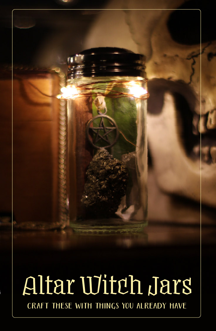 Make your own Witch Jars for Sabbat Altar Decoration