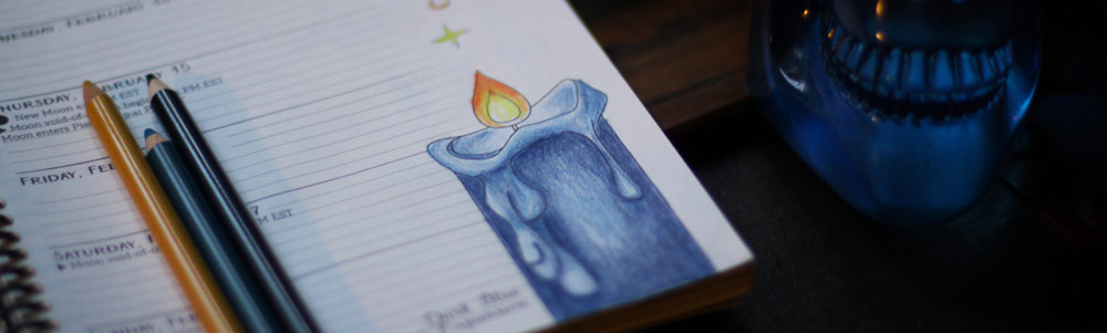 How to Color a Witchy Blue Pillar Candle