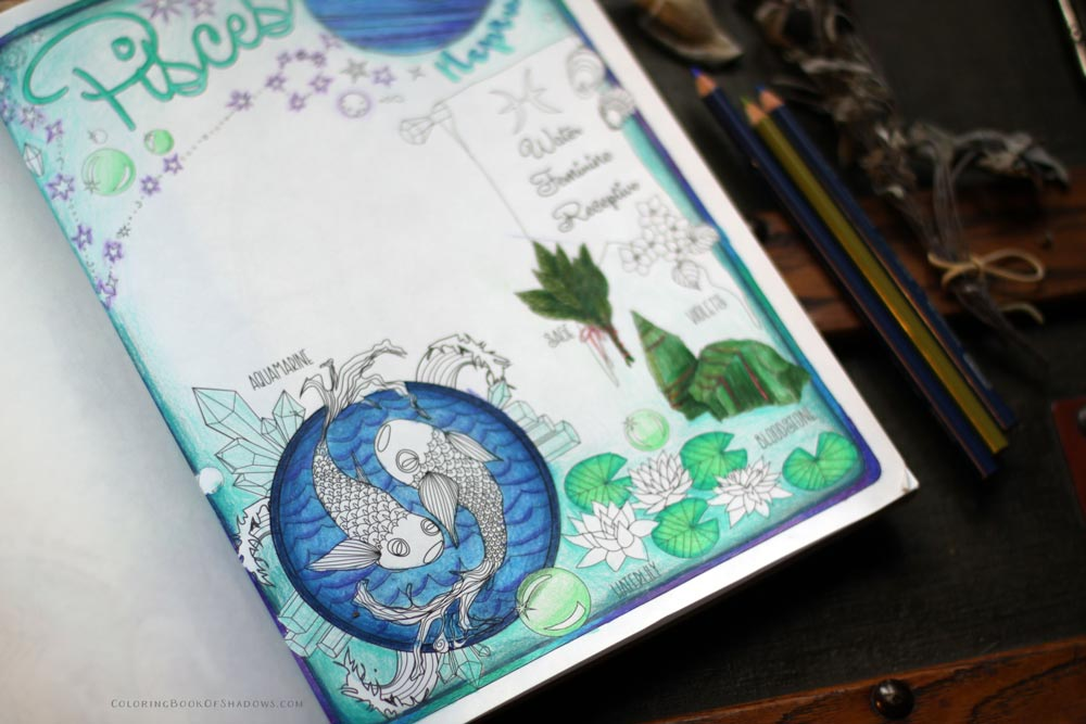 Pisces Book of Shadows Coloring Page