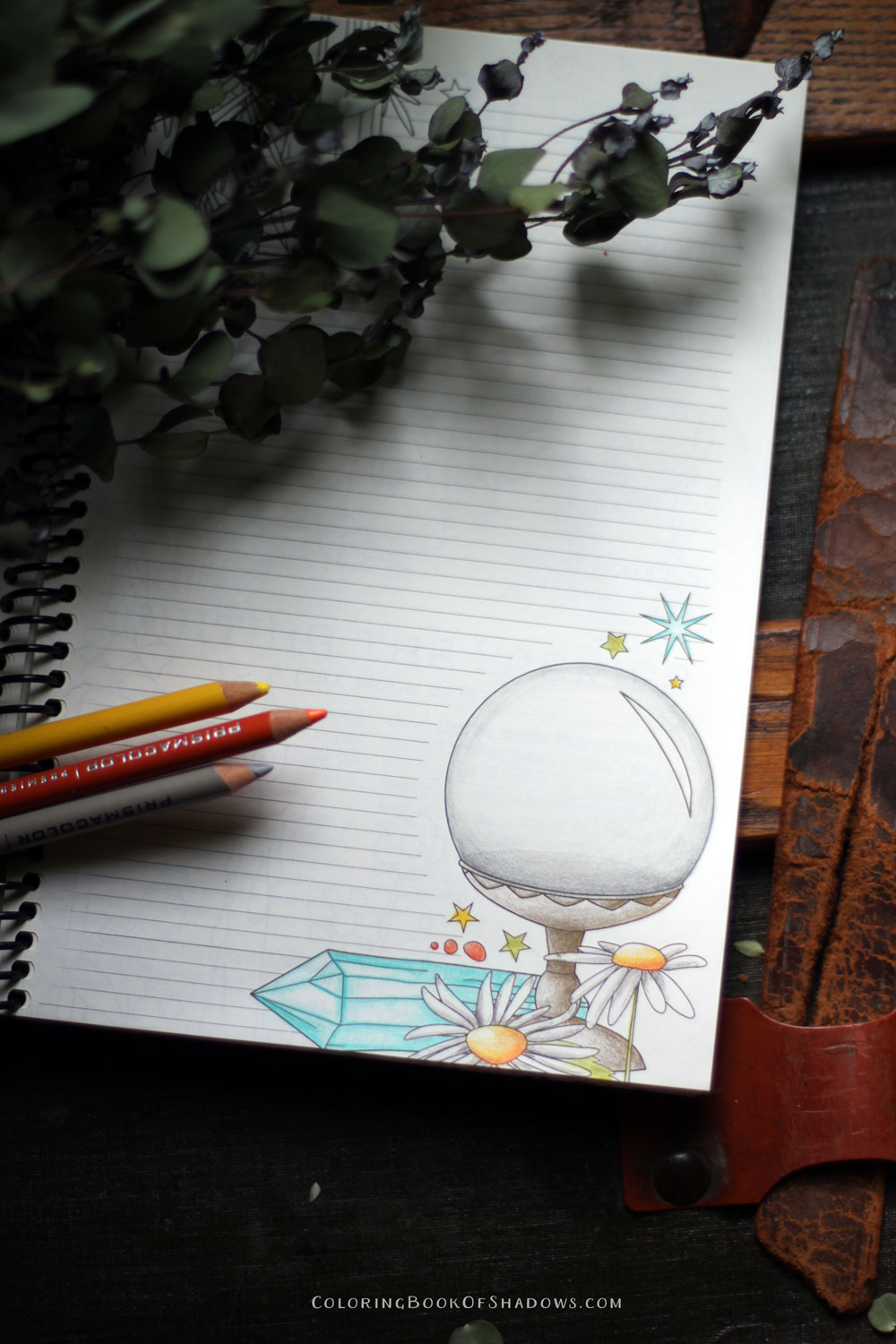 A crystal ball to divine all the secrets of your future... and more magical coloring inspiration.
