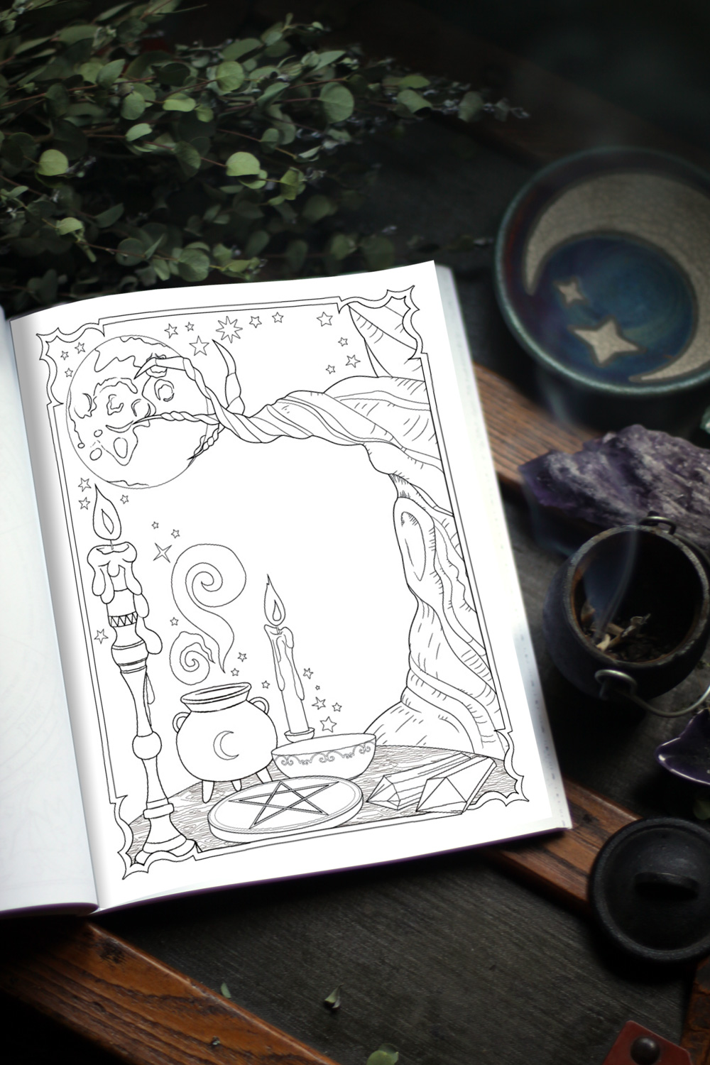Coloring Book of Shadows: Book of Spells. Unlock your magic and cast your spells.