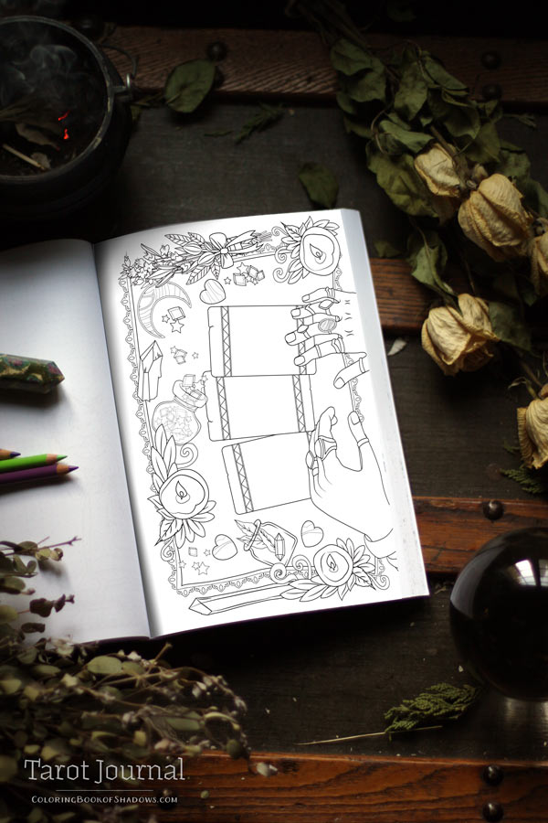 graphic relating to Free Printable Tarot Journal called Tarot Magazine - Coloring E book of Shadows