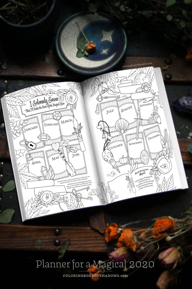Planner for a Magical 2020 - Coloring Book of Shadows
