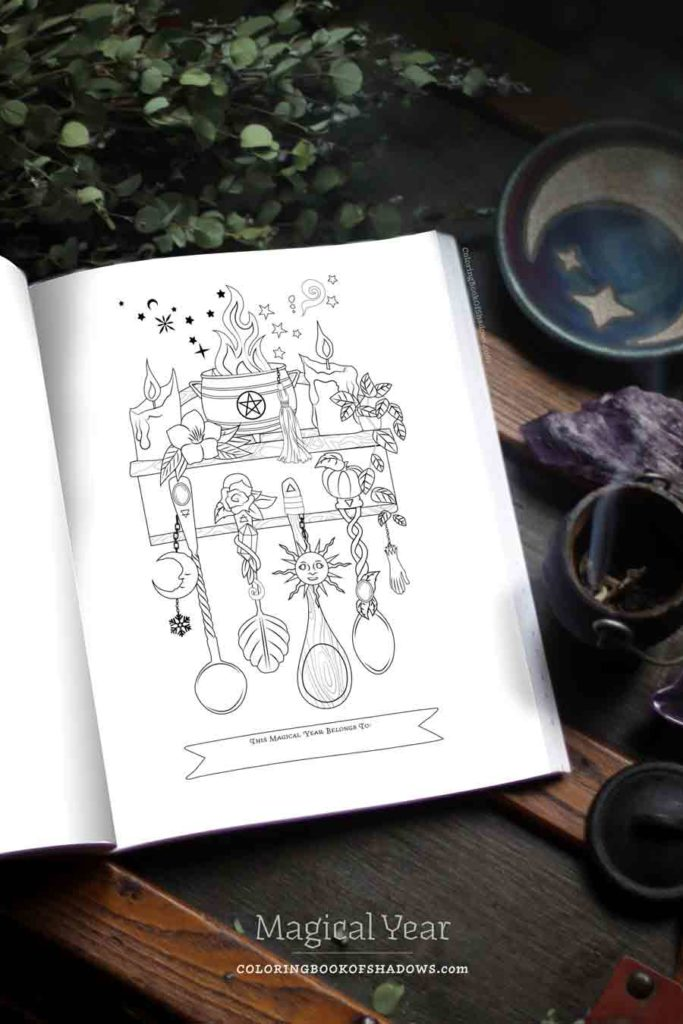 Coloring Book of Shadows: Magical Year (#20) | Witchcraft Books | Grimoire Pages, Ideas & Printables